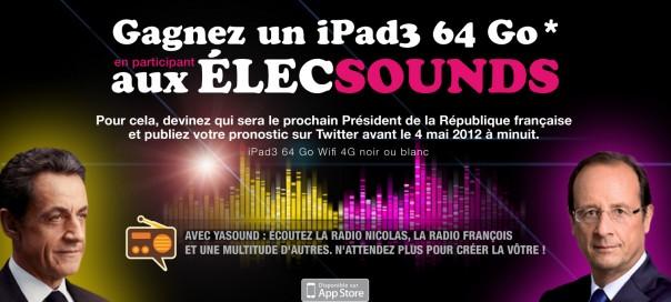 Gagner un iPad 3 avec Yasound et WebLife en pariant sur le résultat des présidentielles