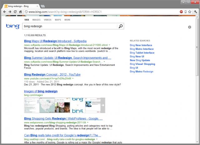 Bing : Nouvelles pages de résultat