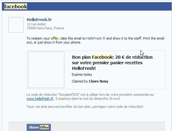 Facebook Email offres locales