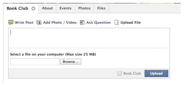 Facebook : Partage de fichiers au seil d'un groupe