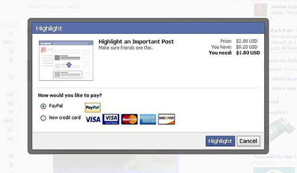 Facebook : Achat de posts sponsorisés
