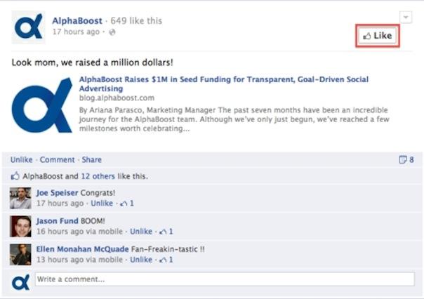 Facebook : Like page Fan depuis la Timeline