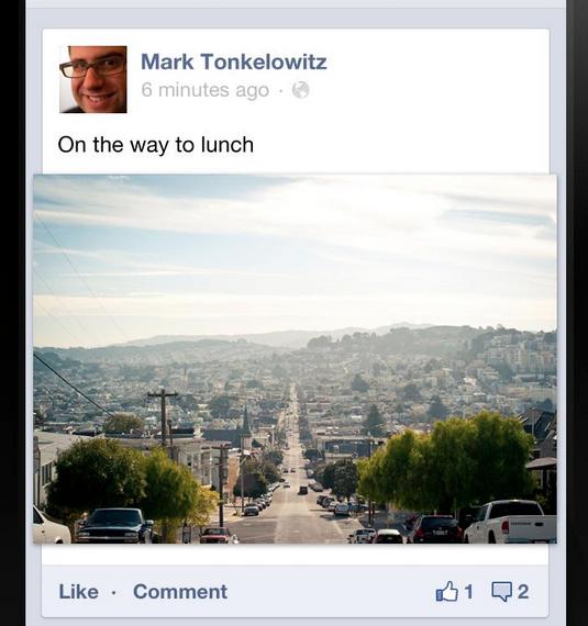 Facebook Mobile : Photos 100% en largeur