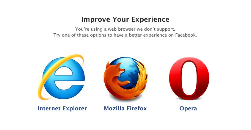 Facebook : Navigateurs internet supportés