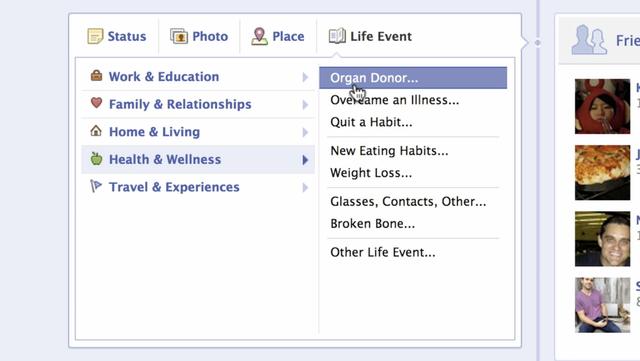 Donneur d'organes sur Facebook