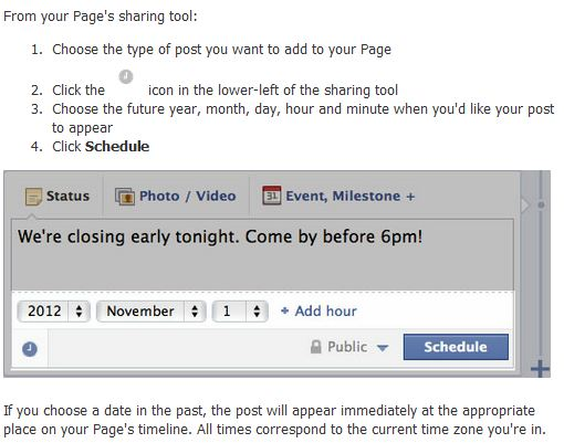 Facebook : Programmation publication post