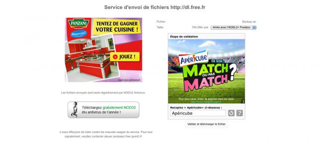 Free : Captcha publicitaire sur le service de stockage de fichiers