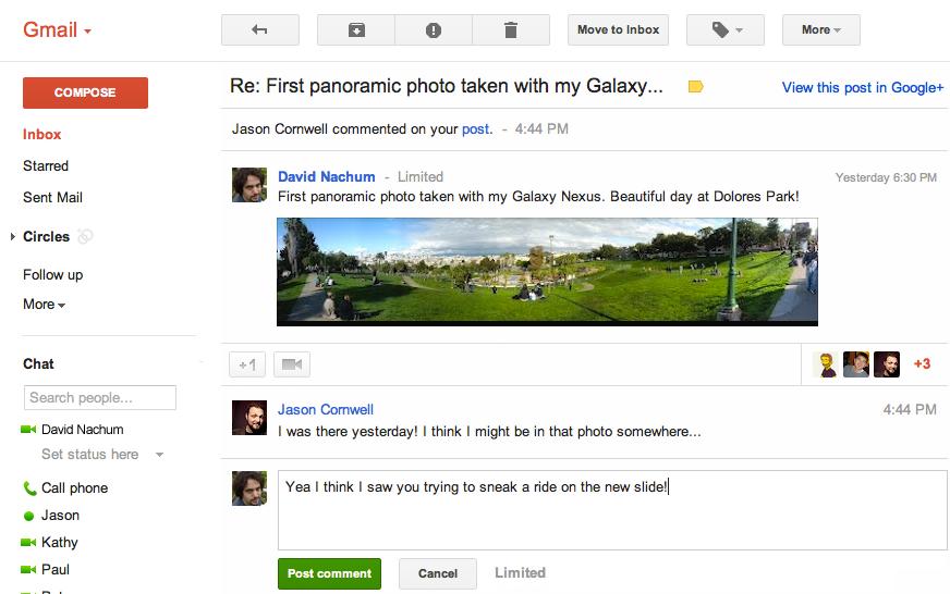 Gmail : notification Google+