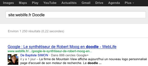 Google : Résultat auteur