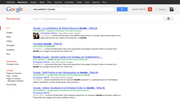 Google : Auteurs dans les pages de résultats