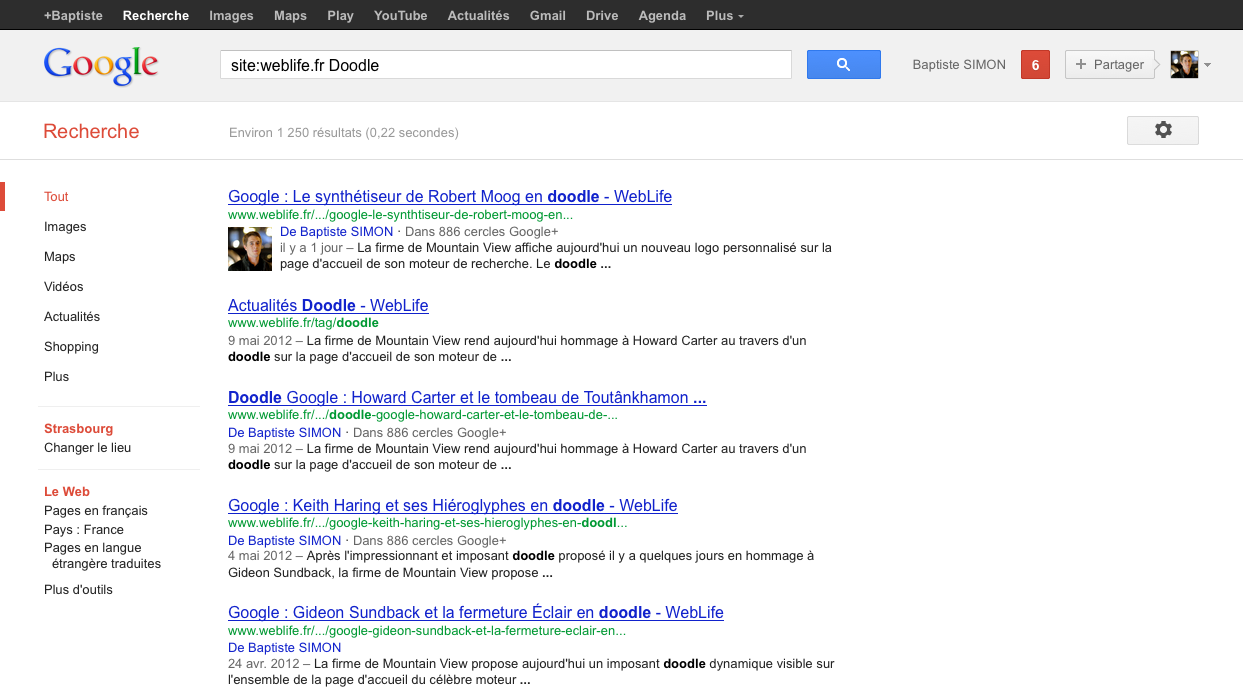 google france rich snippets auteurs dans les pages de r sultats weblife. Black Bedroom Furniture Sets. Home Design Ideas