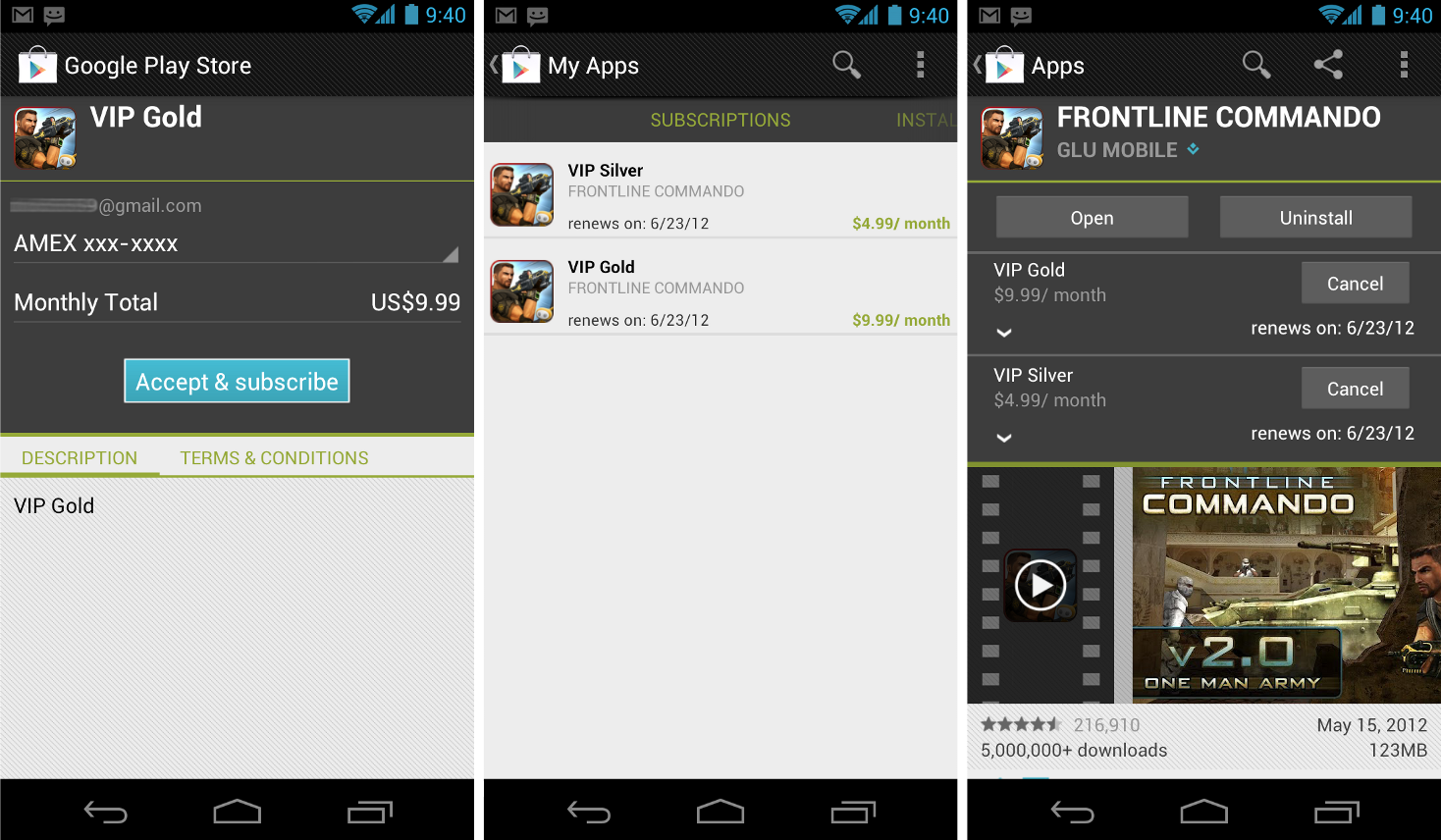 Google Play : Abonnements in-app