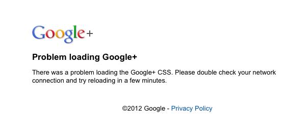 Google+ : Chargement critique de feuille de style (CSS)