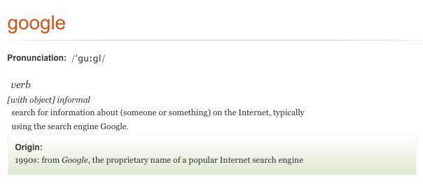 Google : Verbe du dictionnaire d'Oxford