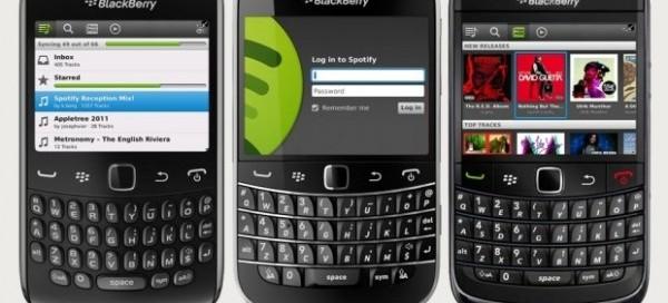 Spotify : Débarquement sur Blackberry