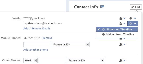 Facebook : Forcing pour imposer son email dans les profils