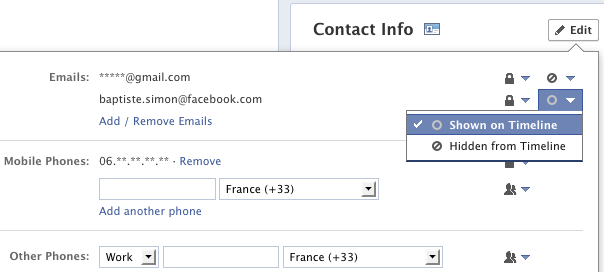 Facebook : Adresse email