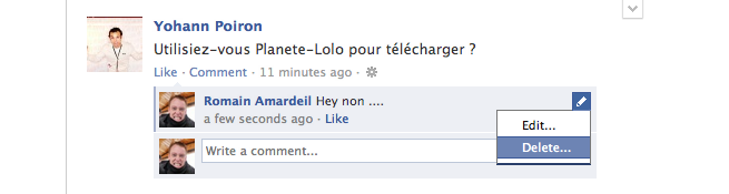 Facebook : Edition commentaire
