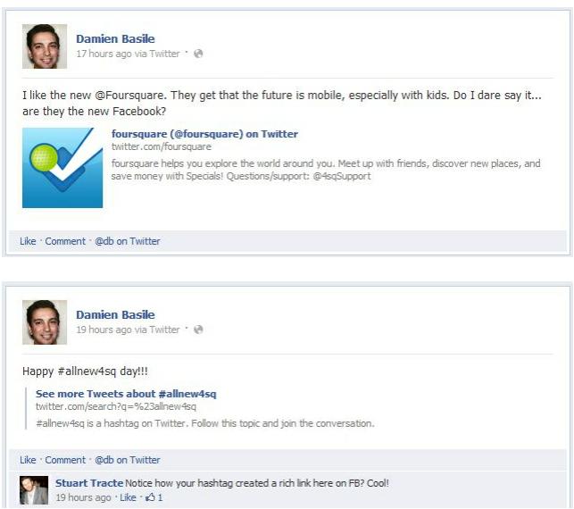 Facebook : Meilleure intégration de Twitter