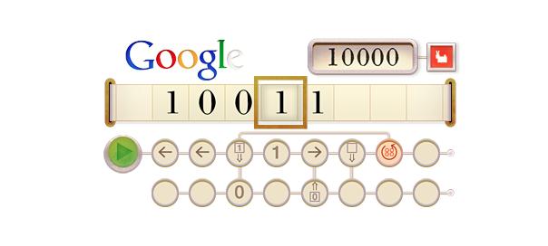 Google : Alan Turing et sa machine en doodle