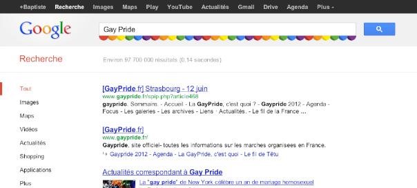 Google : Gay Pride 2012 pour des SERPS en couleurs