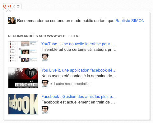 Google Plus : Recommander