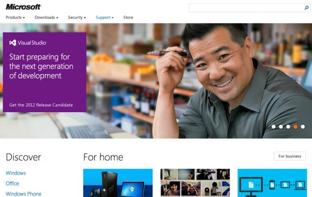 Microsoft : Site en mode Metro