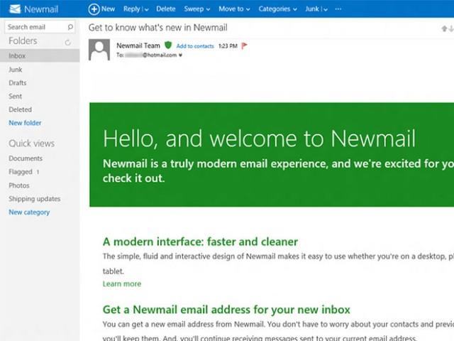 Newmail Hotmail Metro catégories