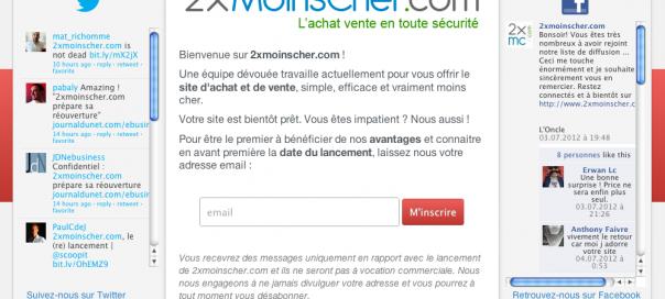 2xMoinsCher : Réouverture du site d'achat et de vente