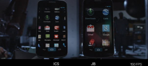 Android : Fluidité de l'interface ICS Vs JB en slow motion