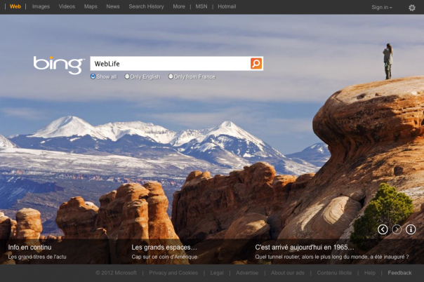 Bing : Page d'accueil