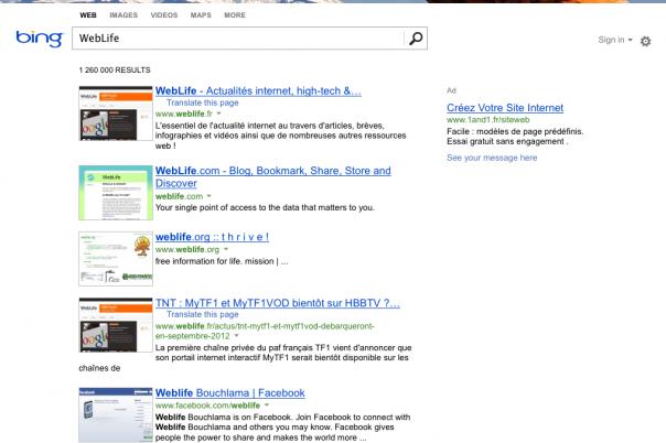 Bing : Page de résultats