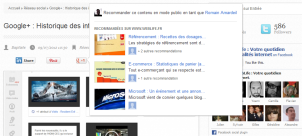 Google+ : Recommandations disponibles via le bouton +1