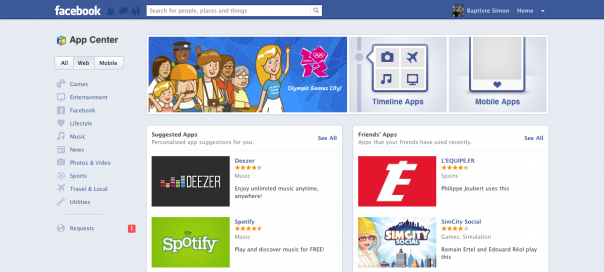 Facebook App Center : L'Espace Applications disponible en France