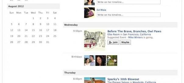Facebook : Calendrier pour les évènements