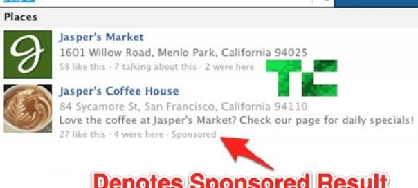 Facebook : Résultats sponsorisés dans la barre de recherche