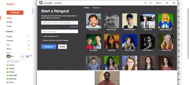 Gmail : Vidéo-bulles (Hangouts) de Google+ pour le chat