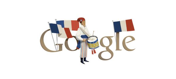 Google : Fête nationale française du 14 juillet en doodle