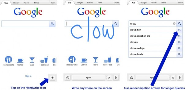 Google Mobile : Reconnaissance d'écriture