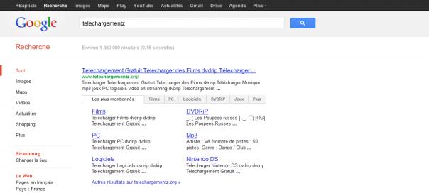 Google : Sitelinks avec onglets dans les SERPS