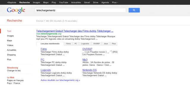 Google : Sitelinks avec onglets