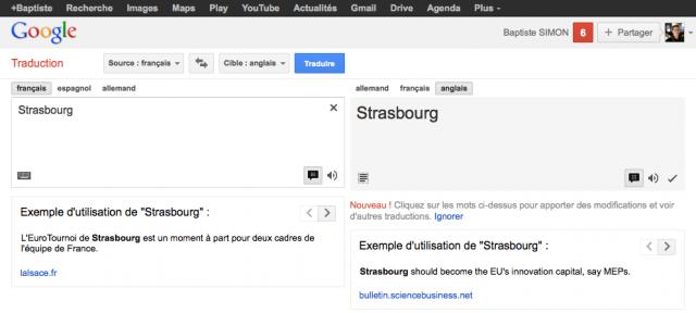 Google Traduction : Exemple d'utilisation de mots