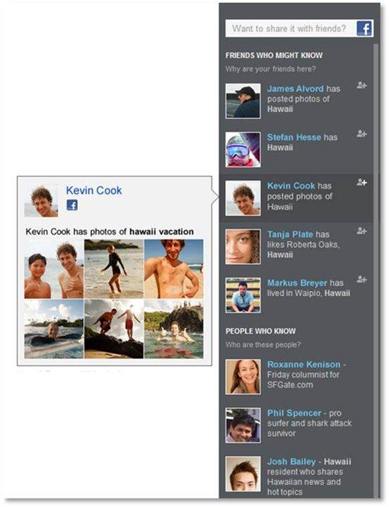 Bing : Photos d'amis Facebook dans la barre sociale
