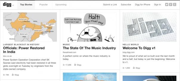 Digg v1 : Lancement du nouveau site internet
