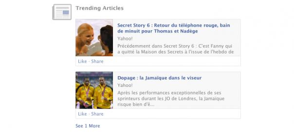 Facebook : Articles populaires doublés dans le flux d'actu