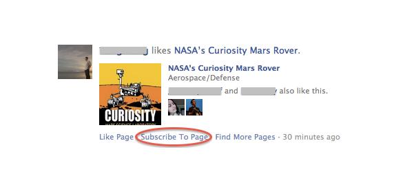 Facebook : S'abonner aux pages depuis le flux de news