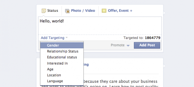 Facebook : Options de ciblage de publication sur les pages