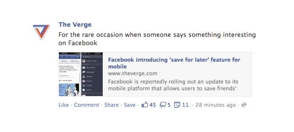 Facebook : Sauvegarde pour lecture différée des publications