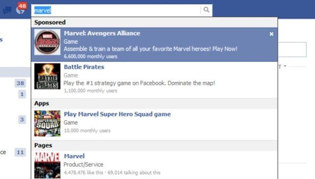 Facebook : Arrivé des résultats sponsorisés