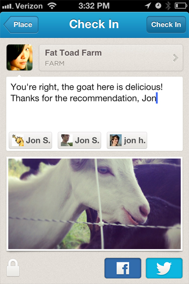 Foursquare : Mention